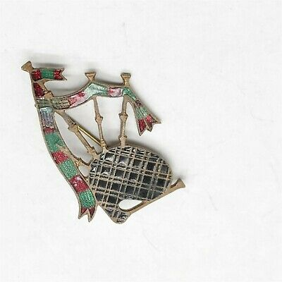Vintage Ladies Costume Jewellery Scottish Bagpipes Enamel Tartan Badge Brooch