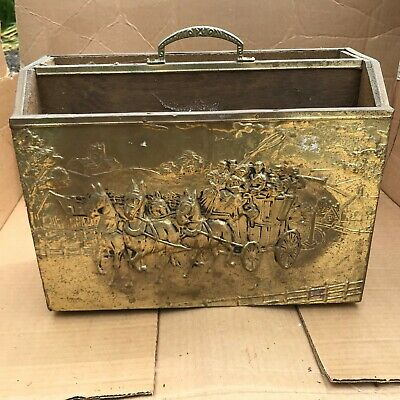 Antique / Vintage Old Brass Covered Magazine Rack Horse Town Scene