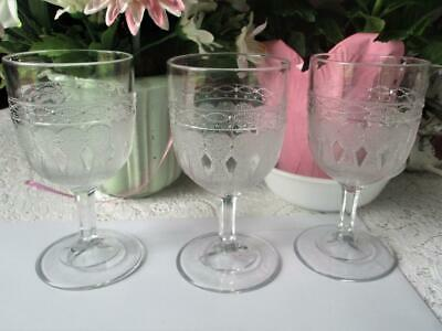 "3 Antique Victorian EAPG ""Arabesque"" Wine or Water Goblets Bakewell Pears c1870"