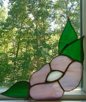 Vintage Stained Glass Lavender Flowers with Green Leaves Window Corners Set of 4