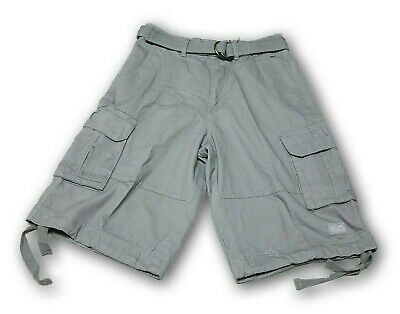 Shaka Wear Men's Gray Cargo Shorts With 6 Pockets and Belt 100% Cotton