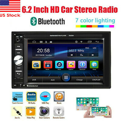 "Double 2Din 6.2"" Car Stereo Radio Mirror Link MP5 Player FM AUX USB SD Bluetooth"