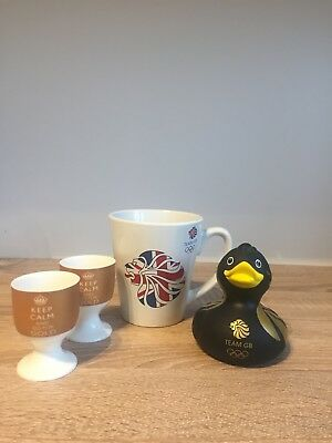 Team GB Official Mug (stickers) Rubber Duck & Keep Calm And Go For Gold Egg Cups