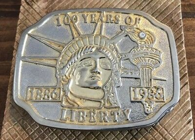 Vintage 100 Years Liberty 1886-1986 Statue Of Liberty Anniversary Belt Buckle