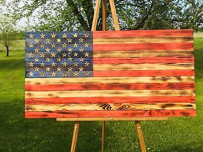 Rustic American wooden flag ( Hand carved stars )