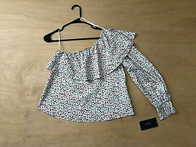 ed813b57 Zara Basic x Floral Print One Long Sleeve Crop Peasant Top Size S NWT B20