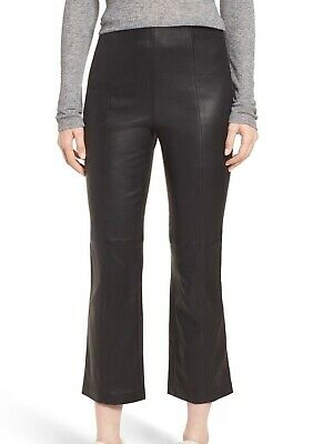 dee9db1d0141f Nordstrom Signature NEW Black Womens Size 14 Leather Cropped Pants $799 930