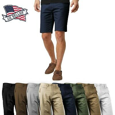 Mens Stretch Chino Shorts Casual Flat Front Slim Fit Spandex Half Pant Cotton