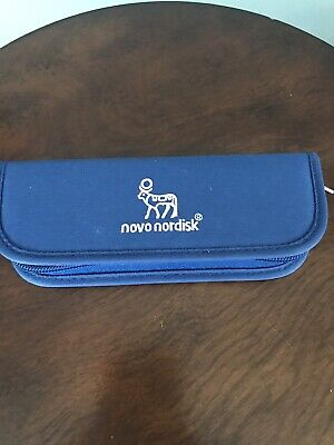 NOVO NORDISK Diabetic Insulin Pen Protector Case Pouch Holds 2 Pens BLUE NEW