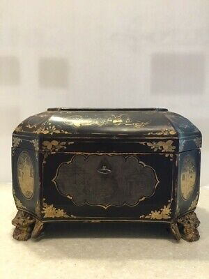 RARE CHINESE EXPORT LACQUER TEA CADDY 19th c.