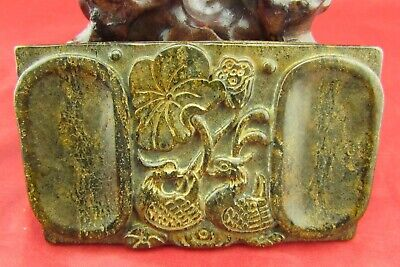 Chinese old jade hand-carved lotus leaf and duck jade brand D1156