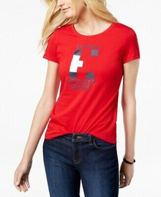 d18333eeb Tommy Hilfiger NEW Red Womens Size Small S Flag Logo-Graphic T-Shirt Top