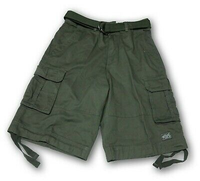 Shaka Wear Men's Olive Green Cargo Shorts With 6 Pockets and Belt NWT
