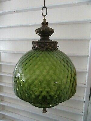 antique light large green glass hanging fixture art deco all orig