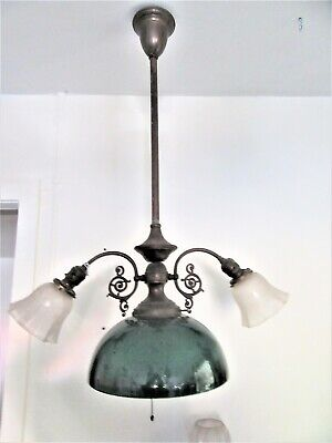 antique light green shade hanging fixture 4 ft green cased glass all orig