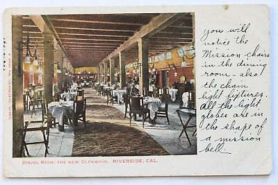 Old UDB postcard DINING ROOM, THE NEW GLENWOOD HOTEL, RIVERSIDE, CA, 1906