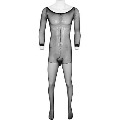 Mens Sexy One Piece Underwear Leotard Top Bodysuit Full Body Stocking Pantyhose