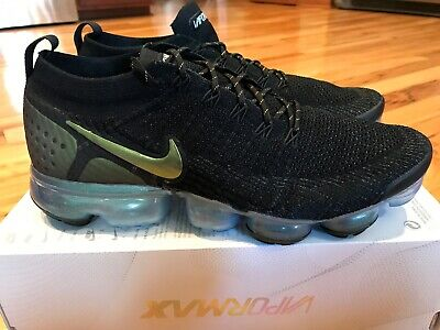 cheaper 4a8f2 39156 NIKE AIR VAPORMAX Flyknit 2 Black Multi-color Gold 942842 015 Men's Size 10