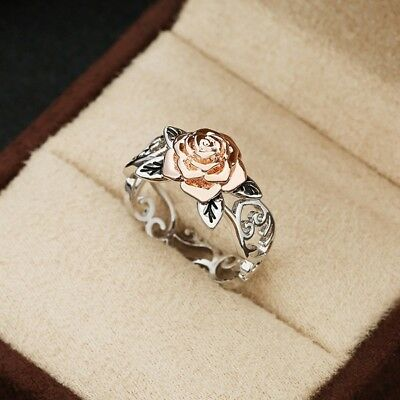 Exquisite Rose Gold Rose Floral Ring 925 Silver Flower Wedding Jewelry Size 5-12