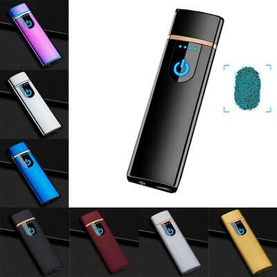 USB Recharge Touch Sensor Electric Flameless Metal Cigarette Lighter Windproof