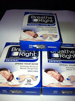 90 BREATHE RIGHT TAN Original Nasal Strips Large Size Nose Stop Snoring Breath