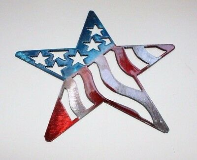 "Stars and Stripes Barn Star Metal Wall Art Decor 7"" Red/White & Blue"