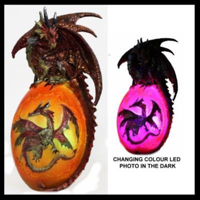 25 cm Dragon on Egg Statue Ornament with USB LED colour changing light