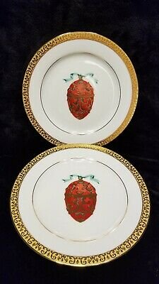 MINT SET OF 2 NEW Royal Gallery Gold Buffet RED Faberge Egg Plates PORCELAIN