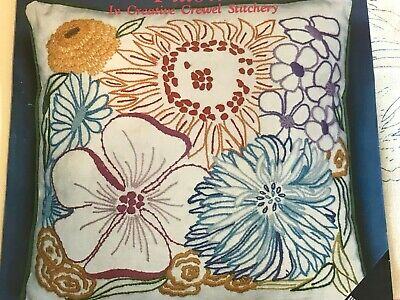 Vintage 1970's Blossoming Silhouettes Pillow Crewel Kit Merribee Missing Yarn