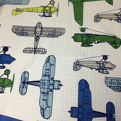 Airplane Aircraft Helicopter Toss Sewing Quilting Fabric 1/2metre x 135cm 23b