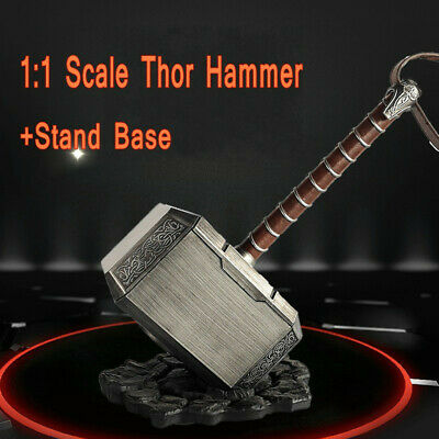 1:1 Marvel Avengers Thor Hammer Mjolnir Replica Weapon+Stand Base Cosplay Props
