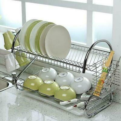 2-Tier Large Dish Drainer Drying Rack Cup Stainless Steel Wash Storage Organizer