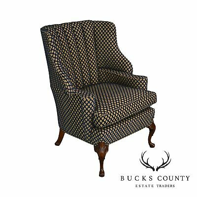 Custom Blue & Gold Upholstered Queen Anne Channel Back Wing Chair