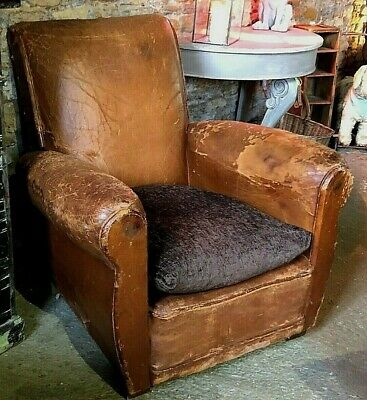Antique French Leather Club Chair Vintage Retail Brown Leather Armchair