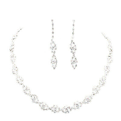 Bridal Wedding Crystal Diamante Twisted Necklace+Drop Earrings Party Jewelry Set
