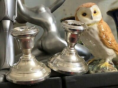 Sterling Silver Candlestick Holders - Poston Products - London - 1959