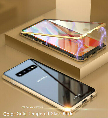 For Samsung S10+ S10e Double Sides Tempered Glass 360° Magnetic Metal Case Cover