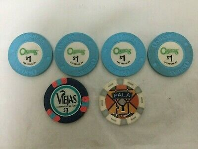 Lot of 6 Different Casino Chips O'SHEAS VIEJAS PALA Free Shipping