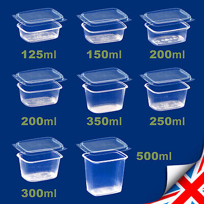 Clear Rectangular Food Containers Plastic Storage BOX with Lids Deli +Microwave