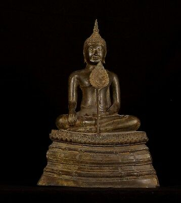 Antique 19th Century Sukhothai Thai Enlightenment Buddha Statue w/Fan- 43cm/17""