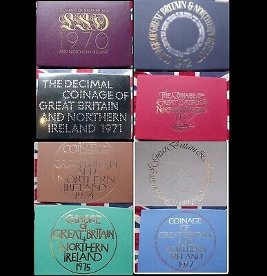 Royal Mint proof coin year sets 1970 1977 free UK postage