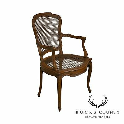 French Louis XV Style Vintage Cane Back Armchair
