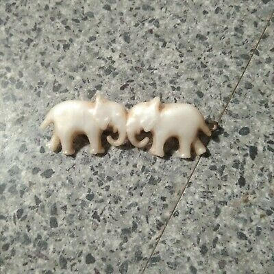 1960'S Rare Hair Clip 2 Elephants Trunk To Trunk From Personal Collection