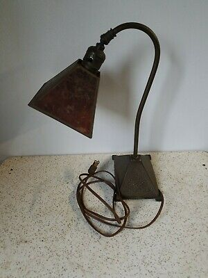 "VINTAGE NYWLF Co. CHICAGO ARTS & CRAFTS CAST METAL MICA SHADE DESK LAMP 14"" TALL"
