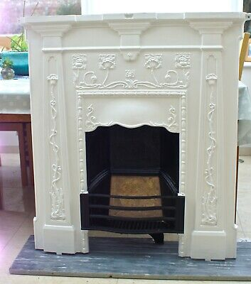 Orignal Antique cast-iron  surround/fireplace Art Nouveau exc. condition C.1890s