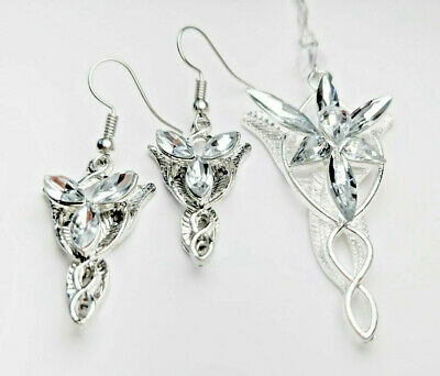 ab7b735821 The Lord Of Rings Collana Elven Coppia Orecchino Arwen Evenstar Hobbit  Cosplay