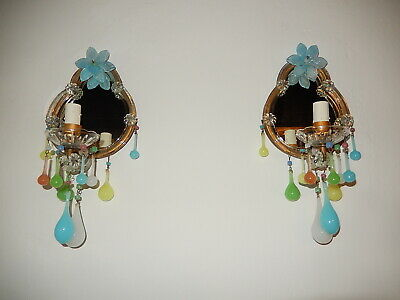 ~c 1920 French Yellow Green Pink Blue Murano Opaline Drops Mirrors Sconces~