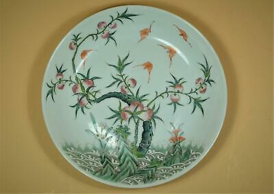 """Chinese Famille Rose Painted """"Peach Bat"""" Porcelain Plate,Marked."""