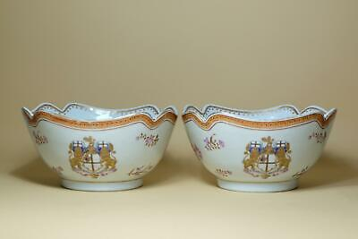 Pair Antique 18th century Chinese Export Famille Rose Porcelain Armorial Bowls