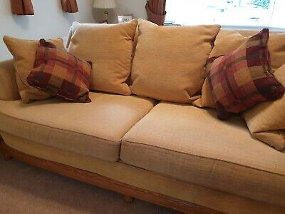 Ercol Bergere down filled scatter-back 3 Seater Sofa + 2 Armchairs + footstool